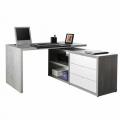Schreibtisch Arbeitstisch Bürotisch Winkelkombination mit Schubladen Weiß Zementfarbe SCHEMA - Angebot