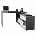Schreibtisch Arbeitstisch Bürotisch Winkelkombination mit Schubladen Weiß Zementfarbe SCHEMA - Preis